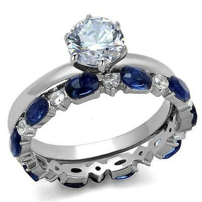 Two Piece Stainless Steel Engagement Ring 6.5mm Center Stone Band Blue Accents