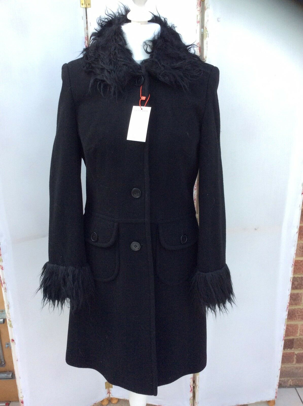 Goth Gothic Gibson Girl By Elspeth Gibson Fur Trimmed Wool Coat - BNWT
