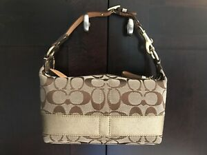 b85e0d35e2 Vtg Authentic Coach Khaki Signature Gold Stripe Top Handle Pouch Bag ...