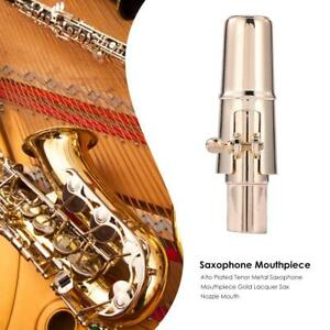 Alto-Plated-Tenor-Metal-Saxophone-Mouthpiece-Gold-Lacquer-Sax-Nozzle-Mouth