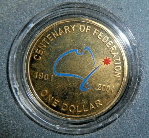 2001 COLOURED PROOF $1 DOLLAR FEDERATION COIN IN A CAPSULE.