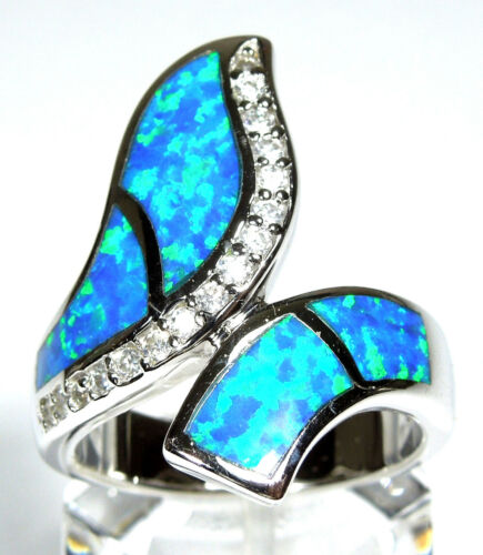 9 7 8 Large Blue Fire Opal Inlay solid 925 Sterling Silver Ring Taille 6