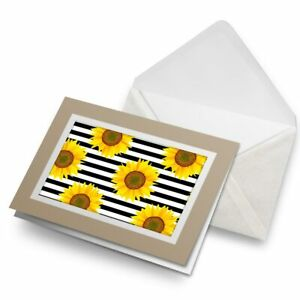 Greetings-Card-Biege-Artistic-Sunflower-Stripy-Pattern-14848