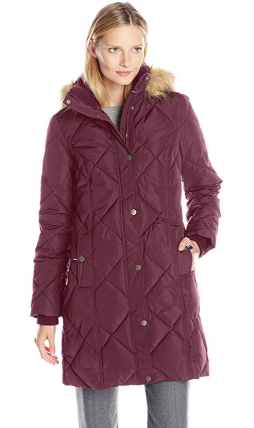 0d15a91f6 Tommy Hilfiger Women's Diamond Quilted Down Coat with Faux Fur Trim Hood  Violet