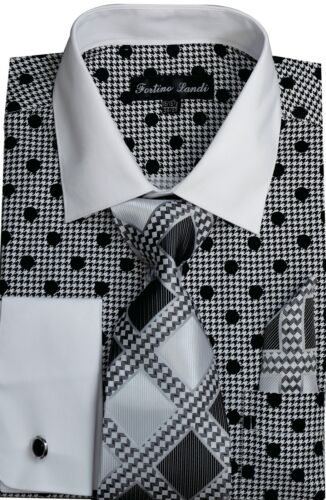 Men/'s 60/% cotton 40/% polyester shirt with tie /& Hanky Polka French cuff FL632