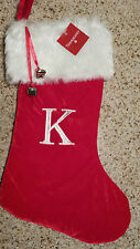 "MONOGRAMMED PLUSH CHRISTMAS STOCKING w/ Bells, LETTER  ""F""  Xmas Decoration NEW!"