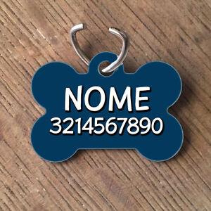 Medaglietta-PERSONALIZZATA-cane-forma-di-osso-NOME-NUMERO-TELEFONO-blu