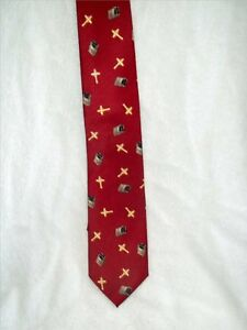 Religious-Polyester-Red-Tie-with-Gold-Crosses-amp-Bibles-All-About-It