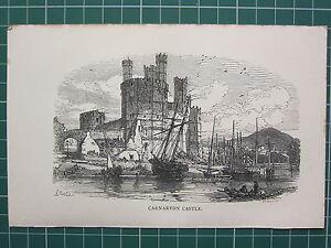 1888 Antico Stampa ~ Carnarvon Castle