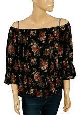 130711 New Denim & Supply Ralph Lauren Floral Printed Ruffle Black Blouse Top M