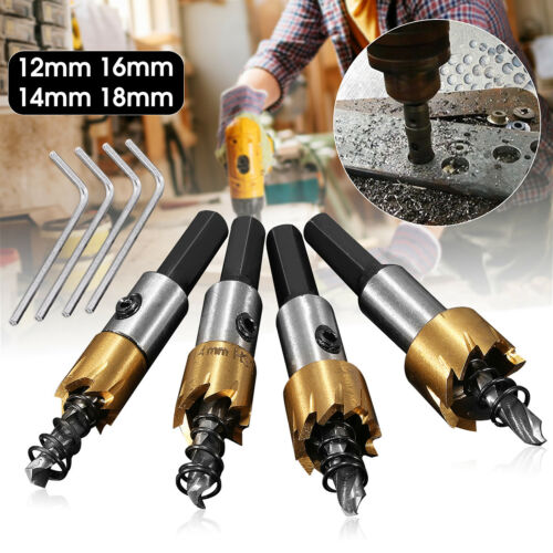 12//14//16//18mm HSS Steel Tipped Drill Bit Metal Wood Cutter Coated Hole Saw Tool
