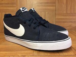 RARE-Nike-Toki-Canvas-Obsidian-Blu-Navy-White-Mid-Boot-Sz-14-Men-s-446336-400