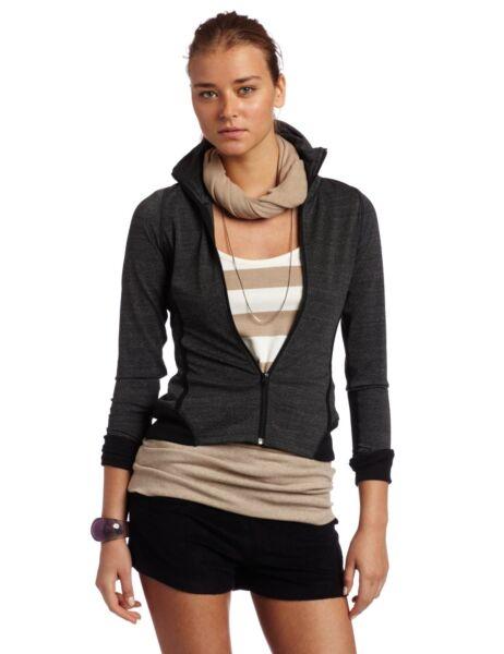 $128 Hknb Heidi Klum For New Balance Womens Striped Hoodie Charcoal Small