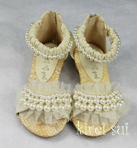 Girls Cream Ivory Pearl Sandals Wedding Flower Party Lace ...