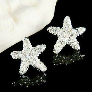 Details About Starfish Made With Swarovski Crystal Bridal Beach Wedding Sea Star Post Earrings