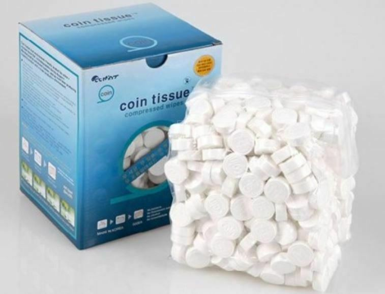 Coin Tissues   Compressed Towels   Camping Wipes   Toilet Paper Tablet  500 Bulk