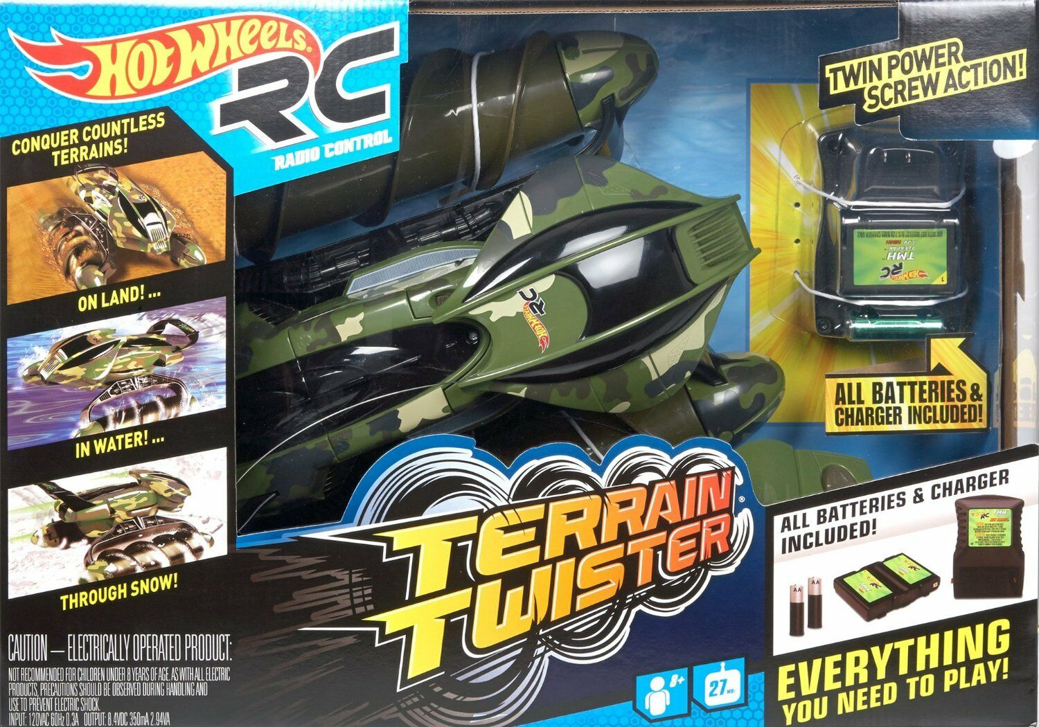 Hot Wheels RC Terrainiac Terrain Twister 27 MHZ Camo Army verde Vehicle DNG35 NU