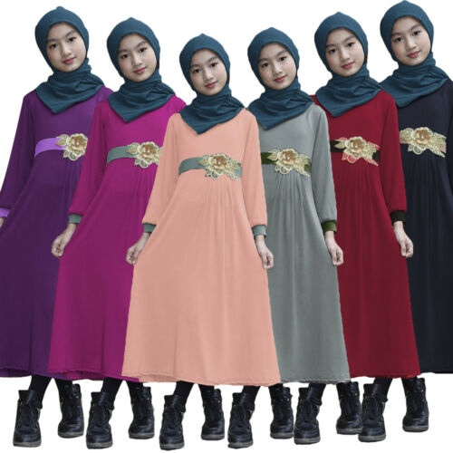 New Kids Girls Muslim Long Sleeve Maxi Dress Holiday Abaya Kaftan Islam Clothes