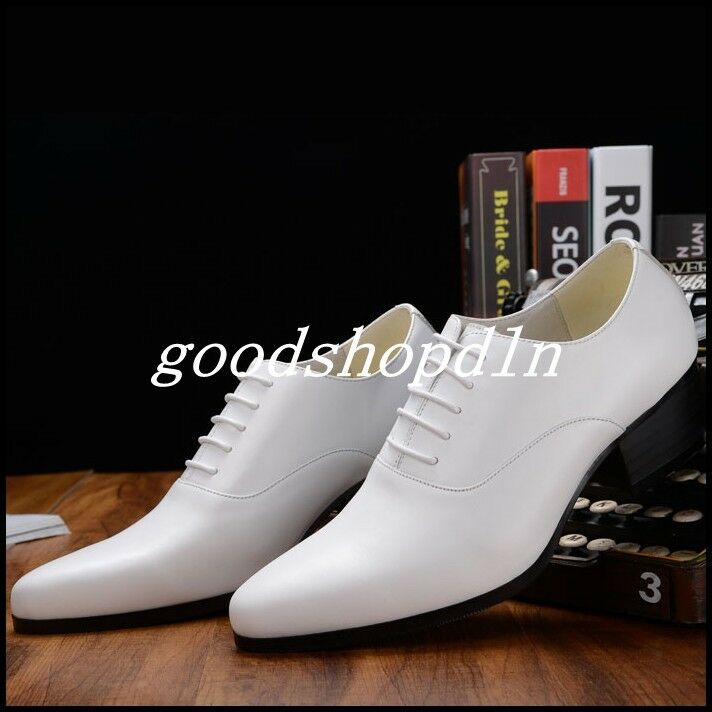 Mens Pointy Toe Lace Up Wedding Dress Formal shoes High Cuban Heels Oxfords shoes