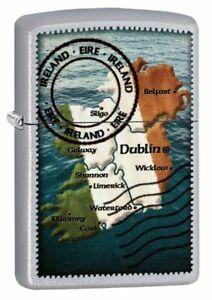 Map-of-Ireland-ZIPPO-Lighter-New-In-Box-Postage-Stamp-Dublin-Belfast-Cork-Eire