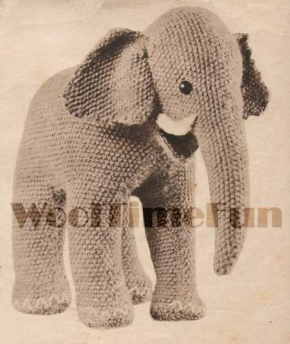 1940s make from oddments Vintage Knitting Pattern Cute Little Toy Elephant