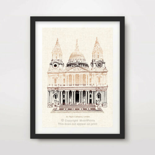 VINTAGE ST PAUL/'S CATHEDRAL ILLUSTRATION LONDON ART PRINT Poster Wall Picture