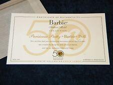Parisienne Pretty Silkstone Barbie COA ONLY Fashion Model Collection