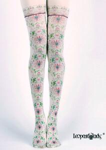 Victoriana-Pink-Chrysanthemum-Floral-Opaque-Tights-Lolita-Steampunk-Harajuku