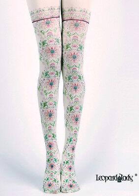 Victoriana Pink Chrysanthemum Floral Opaque Tights Lolita Steampunk Harajuku