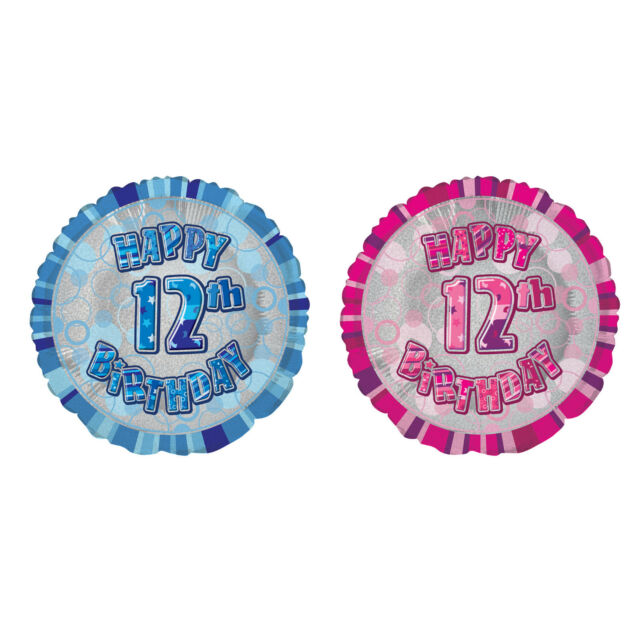 18 Foil Glitz Blue Happy 12th Birthday Balloon For Sale Online