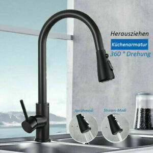 Matte Black Kitchen Faucet Pull Out 2 Way Water Out Sprayer Mixer Tap Ebay
