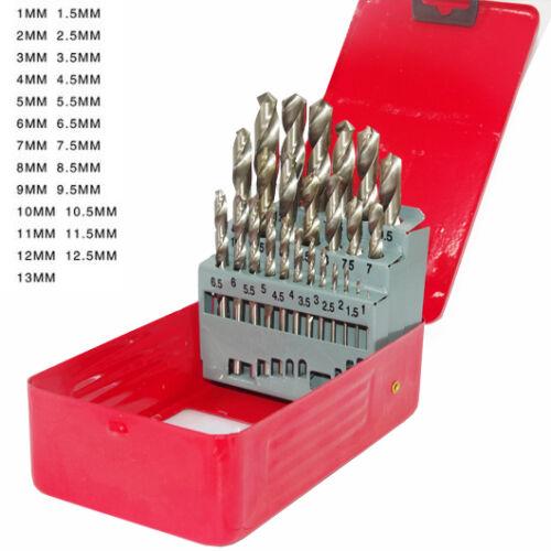 19pcs 25pcs 1-13mm High Speed Steel HSS Drill Bits Set F// Metal Wood Plastic S