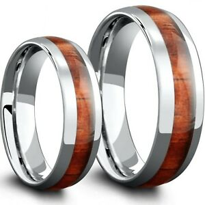 8f9604aabb626 Details about 2pc His & Hers Matching Wedding Ring Band Set Stainless Steel  Koa Wood Inlay 8mm