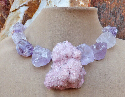 Raw crystal rose gold Raw crystals amethyst jewelry for women large chunky statement necklace for women Huge crystal rose gold pendant