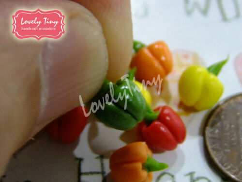 Dollhouse Miniature Vegetable 10 pcs.Fresh Bell Chillies 0.6-0.7 cm diameter