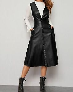 V Neck Sleeveless Pocket Button Front Elegant Faux Leather Dress Casual Work