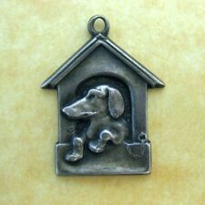 Antique German Silver Dachshund Dog in Doghouse Charm Pendant ~ Sweet!