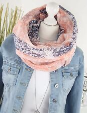 LOOP XL Rundschal PAISLEY Flower Fashion Schal Tuch ROSÉ NAVY SCARF NEU H/M-7