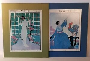 Pair-Vintage-Vogue-Cover-70s-Reproduction-Prints-Lady-Rooster-Garden-Windsor-Art