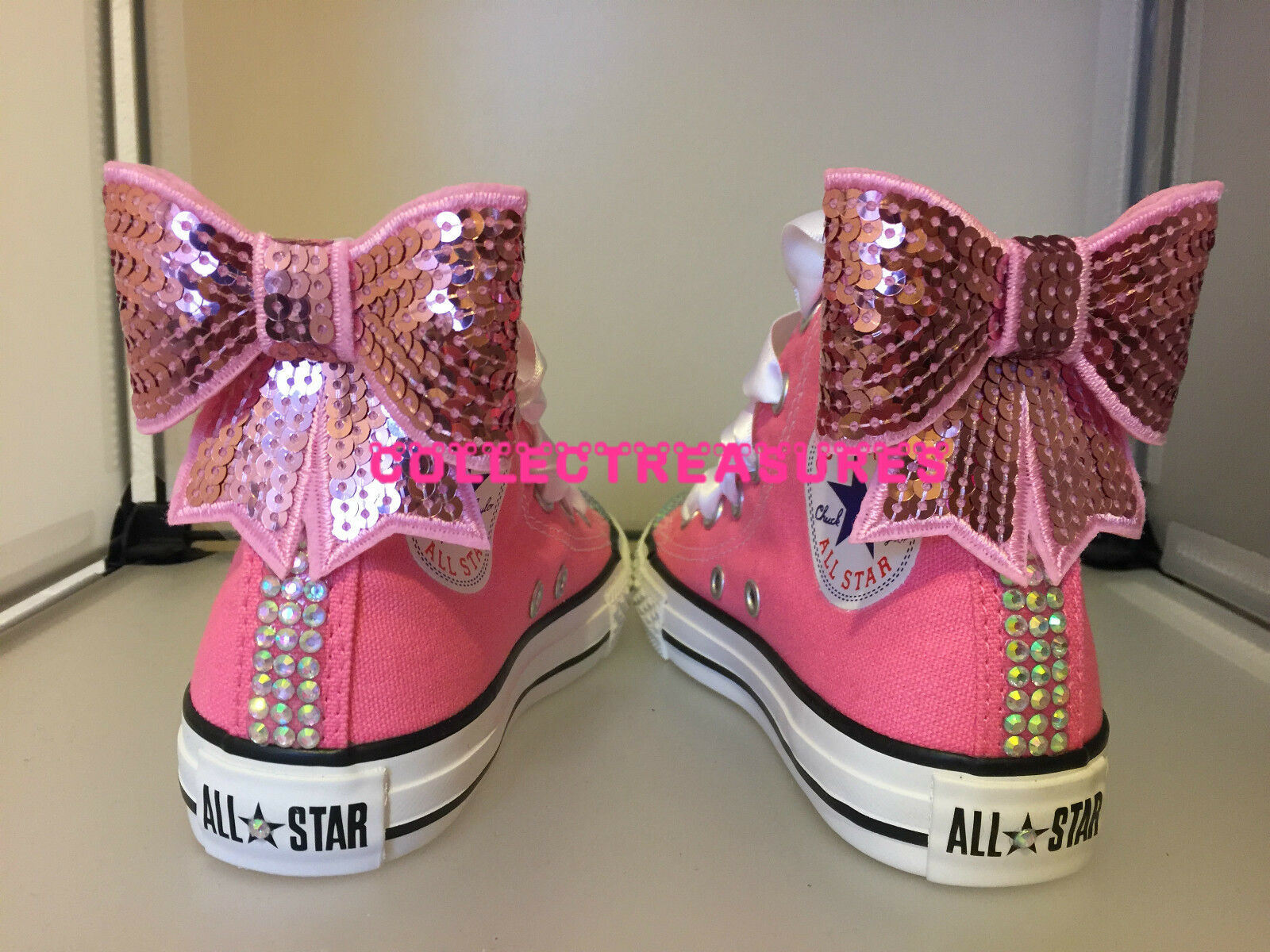 Custom Crystal Diamante Bling Weiß Pink Wedding Converse Größe UK 3 4 5 6 7 8 9