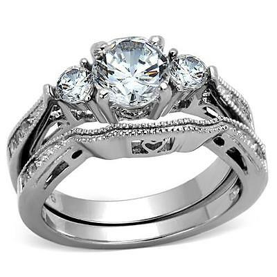 Stainless Steel 3 Round CZ Wedding Engagement 2 PC Ring Band Set non tarnish