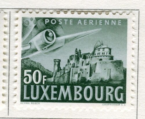 LUXEMBOURG; 1946 early AIR issue fine Mint hinged 50Fr. value