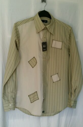 """Higgins Mens Shirt Large 16.5/"""" Button Cuff Olive Green Printed Patch work LS New"""