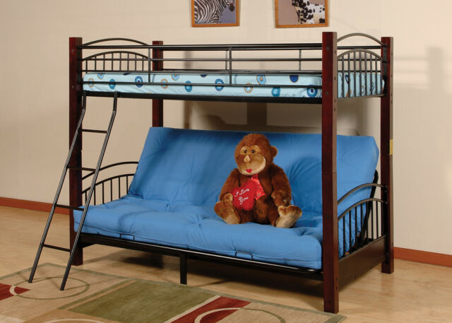 Bunk Bed Futon Metal Black Twin Size Daybed Kids S Child Bedroom Bedding New
