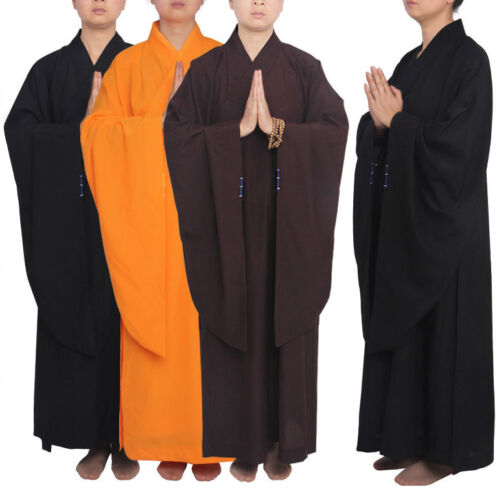Shaolin Temple Buddhist Monk Dress Meditation Robe Kung Fu Suit Long Gown New
