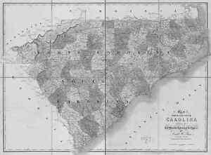 HUGE 1839 SC MAP Piedmont Mauldin Rock Hill Old South Carolina History   IT/'S