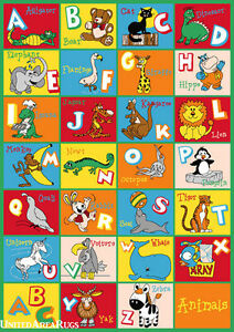 3x5 Educational Rug Kids Abc Animal Names School Learning
