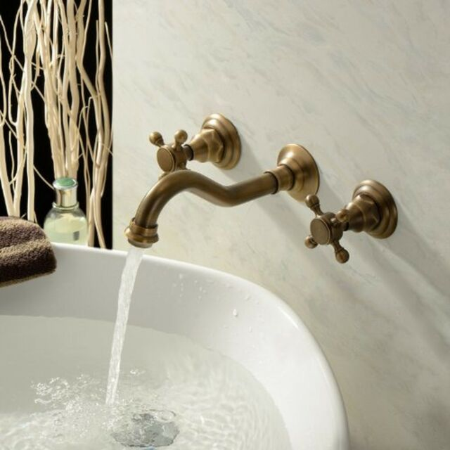 Antique Brass Bathroom Basin Sink Mixer Tap Wall Mounted Dual Handle Faucet