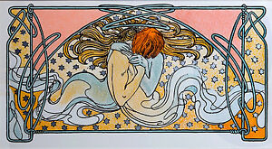 Alphonse-Mucha-Alfons-Kissing-Mermaids-canvas-print-8X12-amp-12X17-reproduction
