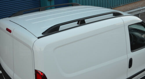 2010+ Black Aluminium Roof Rack Rails Side Bars Set To Fit LWB Fiat Doblo